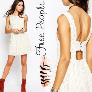 Free People Textured Lace Poppy Mini Knit Dress